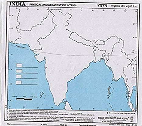 Sa Stationery India Outline Map Standard Multi Coloured 100
