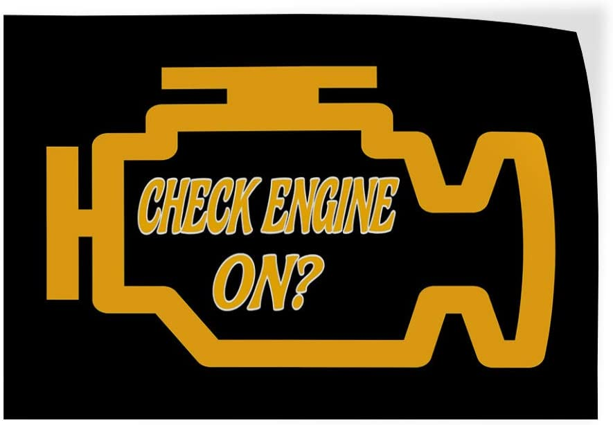 Decal Sticker Multiple Sizes Check Engine Light On 69inx46in Style T Automotive Engine Light on Outdoor Store Sign Black One Sticker