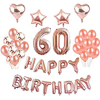 60th Birthday Decorations Puchod Rose Gold Happy Decor 60 Foil Balloons Banner Set Party