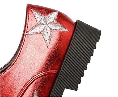 Scarpe Lace estate formato Nero Bianco 43 di tacco donne Stivali Rosso femminile speciale Up 34 lavoro da svago basso e punta Pompe Gold dell'Europa Oro Scarpe delle a Beauqueen qZw8SHII
