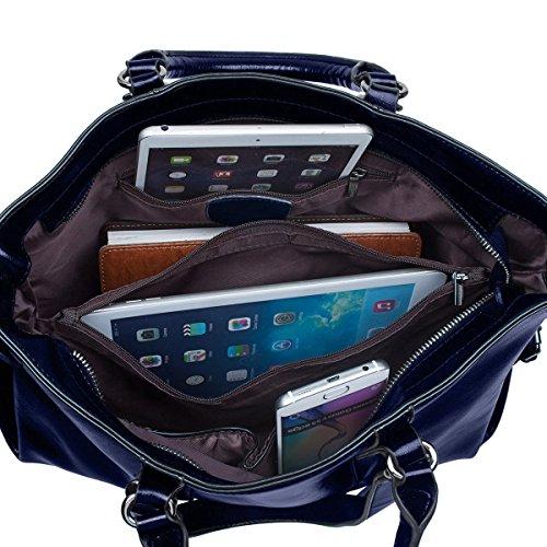 delle 14 portatile di donne genuino S del di messaggero ZONE di del da del di borsa della della computer nero Sacchetto grano spalla pollici Tote cuoio cuoio Blu zaffiro D portatile lavoro del computer BBSqxR