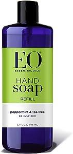 EO Botanical Liquid Hand Soap Refill, Peppermint and Tea Tree, 32 Ounce