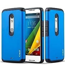 Motorola X Play Case, J&D [Armor Box] Moto X Play [Heavy Duty] [Dual Layer] Hybrid Shock Proof Fully Protective Case for Moto X Play (Moto X Play, Blue)