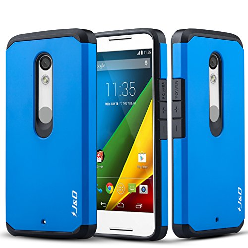 J&D Case Compatible for Moto Droid Maxx 2 Case, Heavy Duty [Dual Layer] Hybrid Shock Proof Protective Rugged Bumper Case for Moto Droid Maxx 2 Case - Blue (Max Droid Cell For Cases Phone)