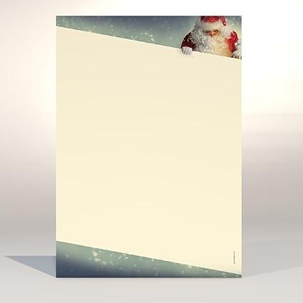 Juego de papel de carta de Navidad de Papá Noel, 50 hojas de ...