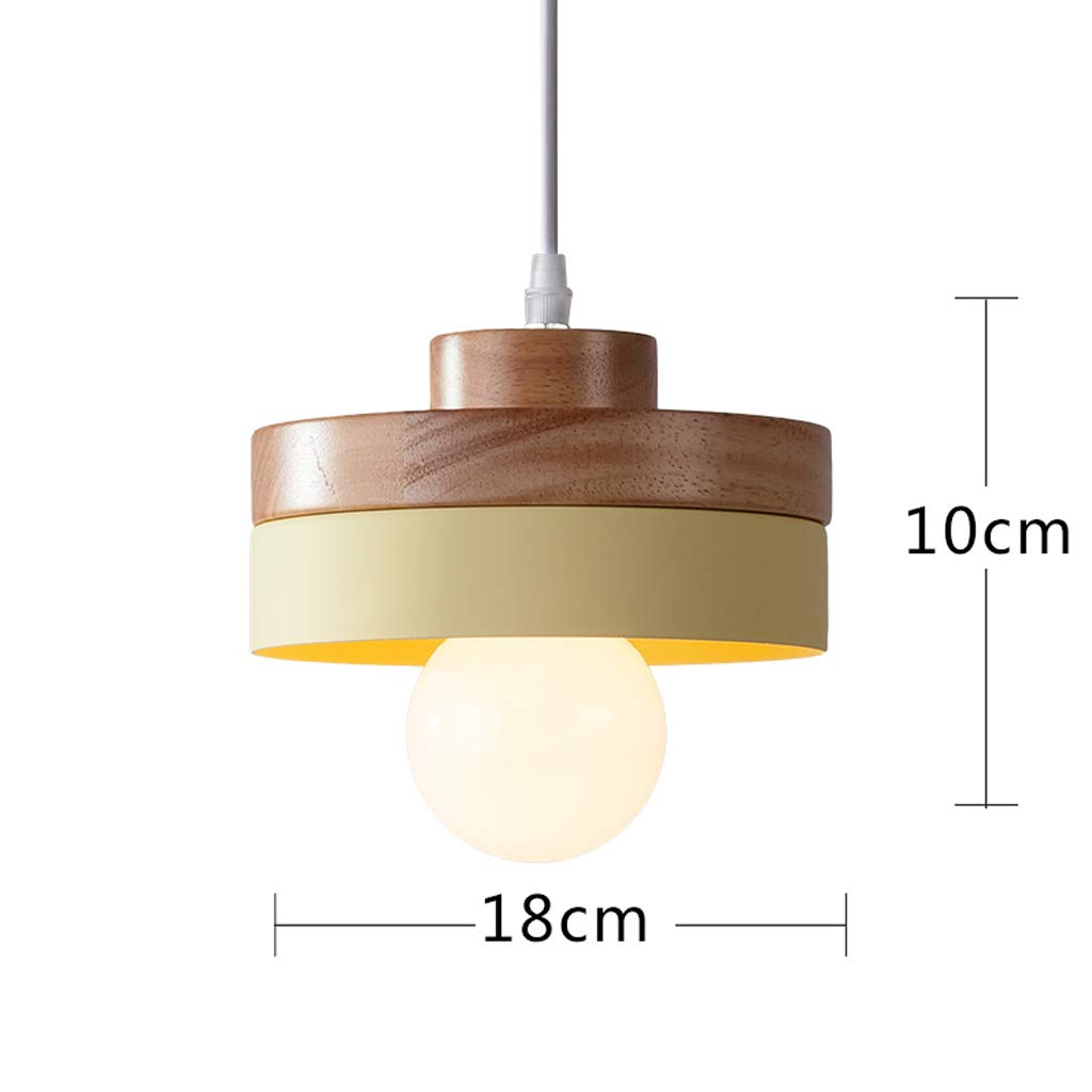 Simple Nordic Style Wooden Dining Room Lamp, Cute Children's Lamp Bar Bedroom Bedside Round Decorative Small Chandelier (Yellow) by Good chandelier (Image #2)