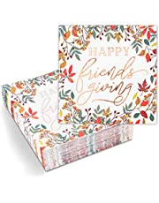 Thanksgiving Napkins for Friendsgiving, Rose Gold Foil (5 x 5 In, 50 Pack)