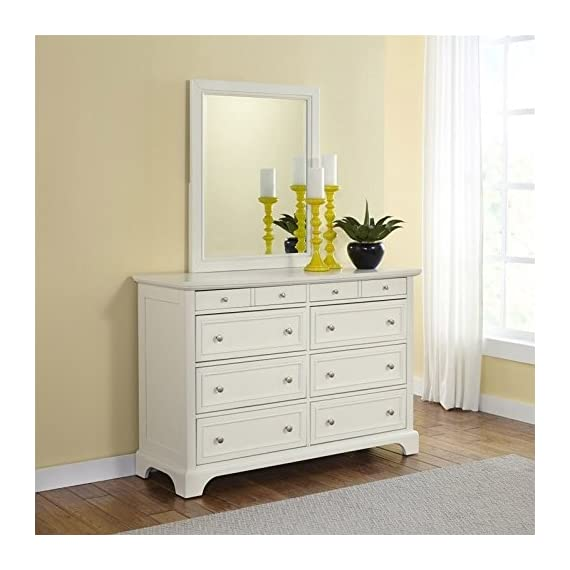Home Styles Naples Eight-Drawer White Dresser and Mirror with Hardwood Solids, Six Large Drawers, Two Felt-Lined Drawers, Brushed Nickel Hardware, and Rectangular Framed Mirror - Two felt lined top drawers Six large drawers Slightly flared legs - dressers-bedroom-furniture, bedroom-furniture, bedroom - 51hrdqDu%2BQL. SS570  -
