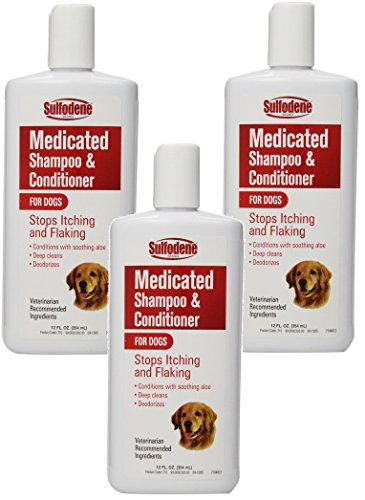Shampoo 12 Dog Ounce ((3 Pack) Sulfodene Medicated Shampoo and Conditioner for Dogs 12 Ounce Bottles)