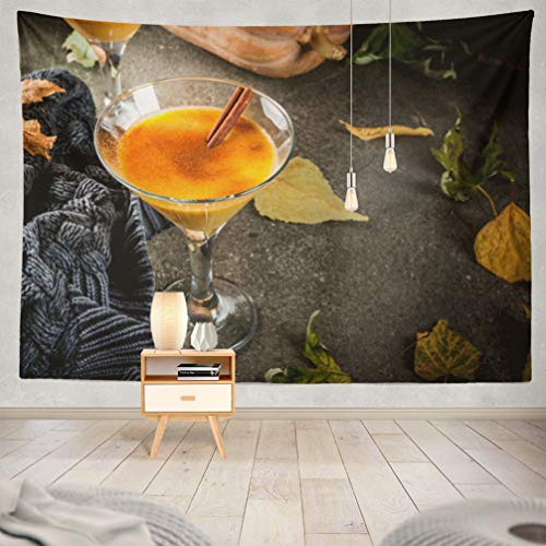 KJONG Halloween-Pumpkin Decorative Tapestry,Fall and Winter Drinks Thanksgiving Halloween Pumpkin Pie 60X80 Inches Wall Hanging Tapestry for Bedroom Living Room