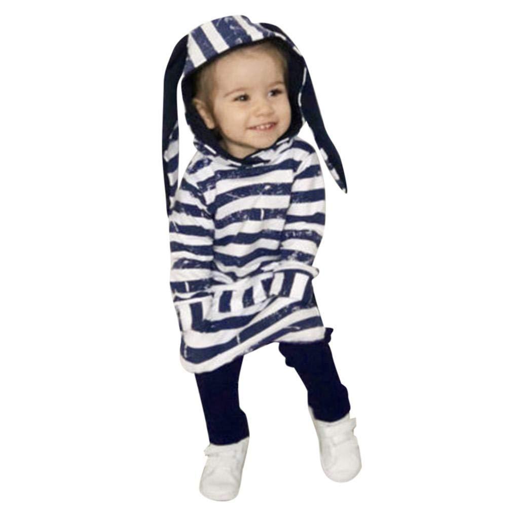 Infant Baby Boys Girls Striped Hooded Tops Rabbit Ear Long Sleeve Cartoon Coat Sweatshirt + Pants 2pcs Clothes Set (Navy, 12-18 Months)