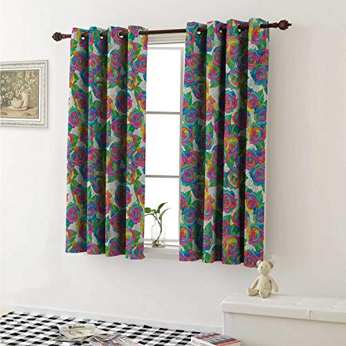 Flyerer Colorful Customized Curtains Rose Blossoms with Lively Colored Petals Spring Inspired Gardening Bedding Plants Curtains for Kitchen Windows W63 x L45 Inch Multicolor