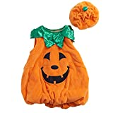 Kids Halloween Pumpkin Costume, Party Suits, 2Pcs (face tunic/ romper, hat)