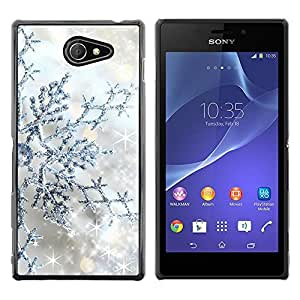 Exotic-Star ( Silver Glitter Winter Stars Sparkle ) Fundas Cover Cubre Hard Case Cover para Sony Xperia M2 / Xperia M2 Aqua / Sony Xperia M2 Dual