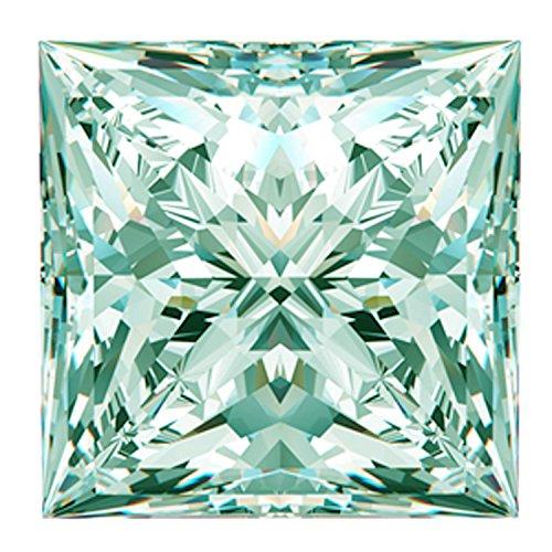RINGJEWEL 1.11 ct VVS1 Loose Moissanite Princess Cut Use 4 Pendant/Ring Off White Light Blue Color Stone