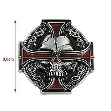 350191426e13 Tête de mort et croix celtique Biker Boucle de ceinture, Red, 80mm Wide  80mm High  Amazon.fr  Sports et Loisirs