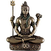 """Top Collection Mini 3.25"""" Lord Shiva in Lotus Pose - Hindu God and Destroyer of Evil. Good Protection. Bronze Powder Mixed with Resin - Bronze Finish with Color Accents."""