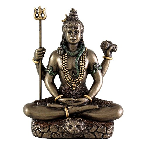 "Top Collection Mini 3.25"" Lord Shiva in Lotus Pose - Hindu God and Destroyer of Evil. Good Protection. Bronze Powder Mixed with Resin - Bronze Finish with Color Accents."
