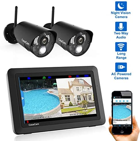 CasaCam VS802 Wireless Security Camera System with 7 Touchscreen and HD Nightvision Cameras, AC Powered 2-cam kit