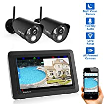 CasaCam VS802 Wireless Security Camera System with AC Powered HD Nightvision Cameras and 7 Touchscreen Monitor (2-cam kit)