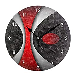 Kefanlk Silent Non Ticking Battery Operated Easy to Read Decorative Modern Abstract Style Red Black Gray White Wall Clock