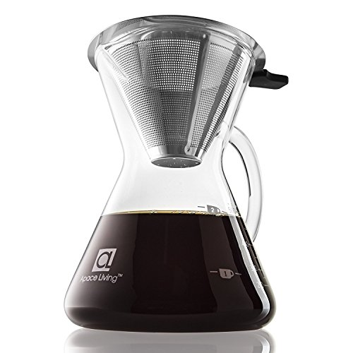 Apace Living Pour Over Coffee Maker (400 ml / 13.5 oz) and Coffee Scoop Ð Coffee Dripper with Glass Carafe & Permanent...