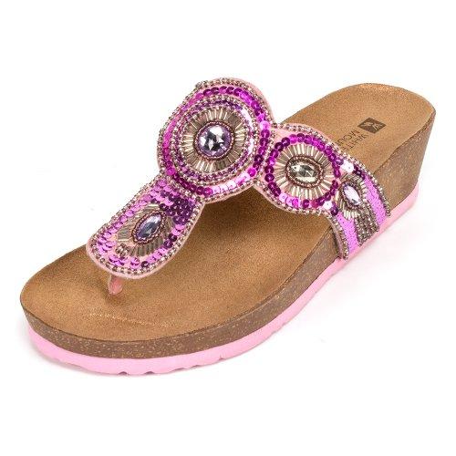 White Mountain Women's Blast Wedge Sandal,Pink Multi,10 M US - Beaded Pink Sandals