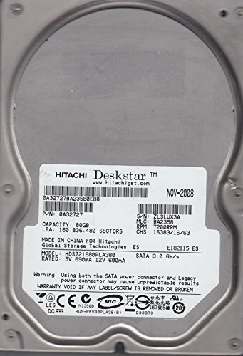 HDS721680PLA380, PN 0A32727, MLC BA2358, Hitachi 80GB SATA 3.5 Hard (Hitachi Sata Controller)