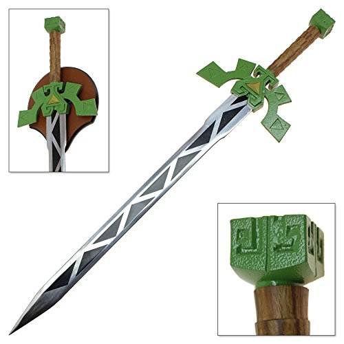 [Full Tang Elf Warrior Steel Sword of Legend Green & Gold Replica Anime Game Swords] (Ganon Cosplay Costume)