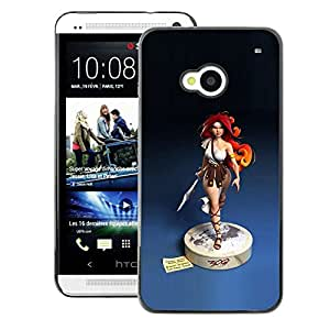 A-type Arte & diseño plástico duro Fundas Cover Cubre Hard Case Cover para HTC One M7 (Redhead Girl Blue Statue Woman Warrior)