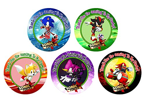 12 Sonic Forces Birthday Party Favor Stickers (Bags Not Included) - Party Birthday Bag Toppers Favors