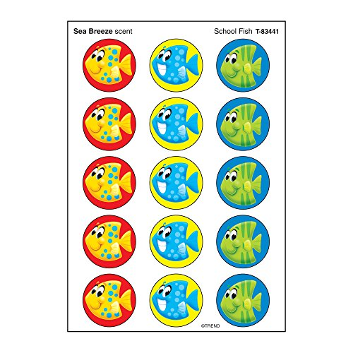 Trend Enterprises T-83441 Stinky Stickers – Large Round, School Fish – Sea Breeze, 60 Stickers Fish Round Sticker