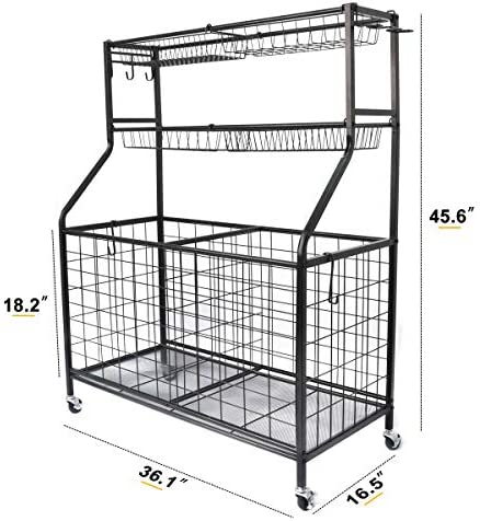 Kinghouse Garage Sports Equipment Organizer, Ball Storage Rack, Garage Ball Storage, Sports Gear Storage, Garage Organizer with Baskets and Hooks, Rolling Sports Ball Storage Cart, Black, Steel