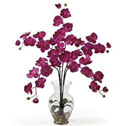 Nearly Natural Phalaenopsis Liquid Illusion Silk Flower Arrangement