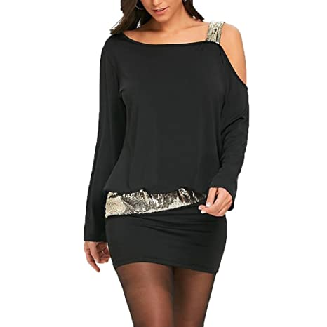 490461b72ed8 KOLY Moda Femminile Mini Abito Blouson Bling con Paillettes Sexy Senza  Spalline Vestiti Gonne Vintage Vestito