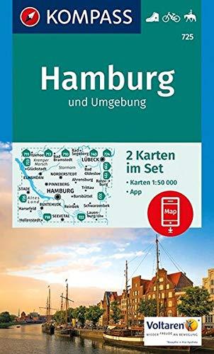 Hamburg und Umgebung: 2 Wanderkarten 1:50000 im Set inklusive Karte zur offline Verwendung in der KOMPASS-App. Fahrradfahren. Reiten. (KOMPASS-Wanderkarten, Band 725)