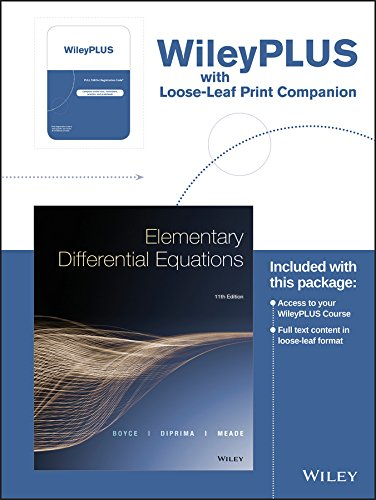 Elementary Differential Equations, 11e WileyPLUS Registration Card + Loose-leaf Print Companion