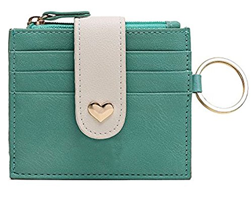 Girls Leather Peach Heart Thin Wallet Card Zipper Wallets with Key Chain (Heart Girl Wallet)