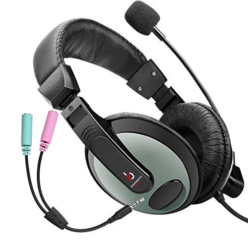 [해외]Etekcity Professional 경량급 유선 스테레오 PC 헤드셋 마이크 (마이크 포함)/Etekcity Professional Lightweight Wired Over Ear Stereo PC Headset