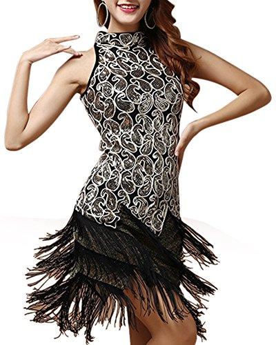 Mujer Falda Del Funcionamiento Danza Latina Vestidos Bailes Latinos Lentejuela Borla Negro Negro