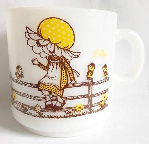 "Vintage Hazel Atlas Kirby Marting Yellow Bonnet Daisy Mug - White Milk Glass (3"" Tall)"