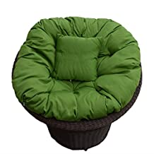 Ucharge Rattan Rotate Chair with Cushion (Dark Green)