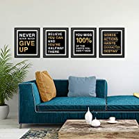 Adhesive Black Finish Ihopes Motivational Quote Workout Gym Posters 8x10 inch Inspirational Teen Work Decor Set of 4 Classroom Office Wall Art Decals