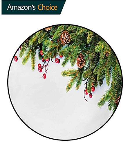 (RUGSMAT Christmas Non-Slip Area Rug Pad Round,Evergreen Fir Tree Branches with Cones Yule Celebration Holly Culture Design Protect Floors While Securing Rug Making Vacuuming,Round-35 Inch)