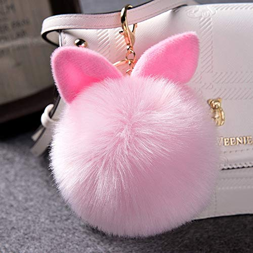 Amazon.com: KathShop Pompon Fluffy Porte Clef Pompom De ...
