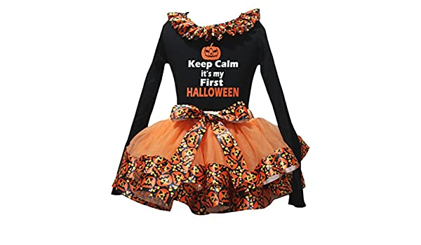 Petitebella Keep Calm Black L//S Shirt Orange Pumpkin Petal Skirt Nb-8y