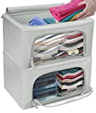 Sorbus Storage Bins Boxes, Foldable Stackable Container Organizer Basket Set with Large Clear Window & Carry Handles, for Bedding, Linen, Clothes (Small Window Storage Bag - 2 Pack, Gray)