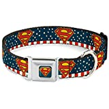 Superman Dog Collar SMQ Shield Full Color Americana Blue Shield Pet Collar