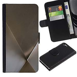 Apple iPhone 5 / iPhone 5S Modelo colorido cuero carpeta tirón caso cubierta piel Holster Funda protección - Metal Minimalist Silver Pattern