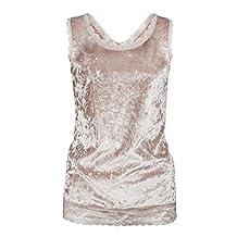 Anxinke Women Sleeveless Velvet Summer Vest Shirts Tank Top